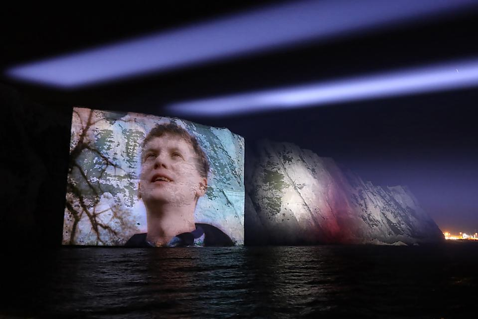 The video projected onto the cliffs (Sony Music Entertainment UK)