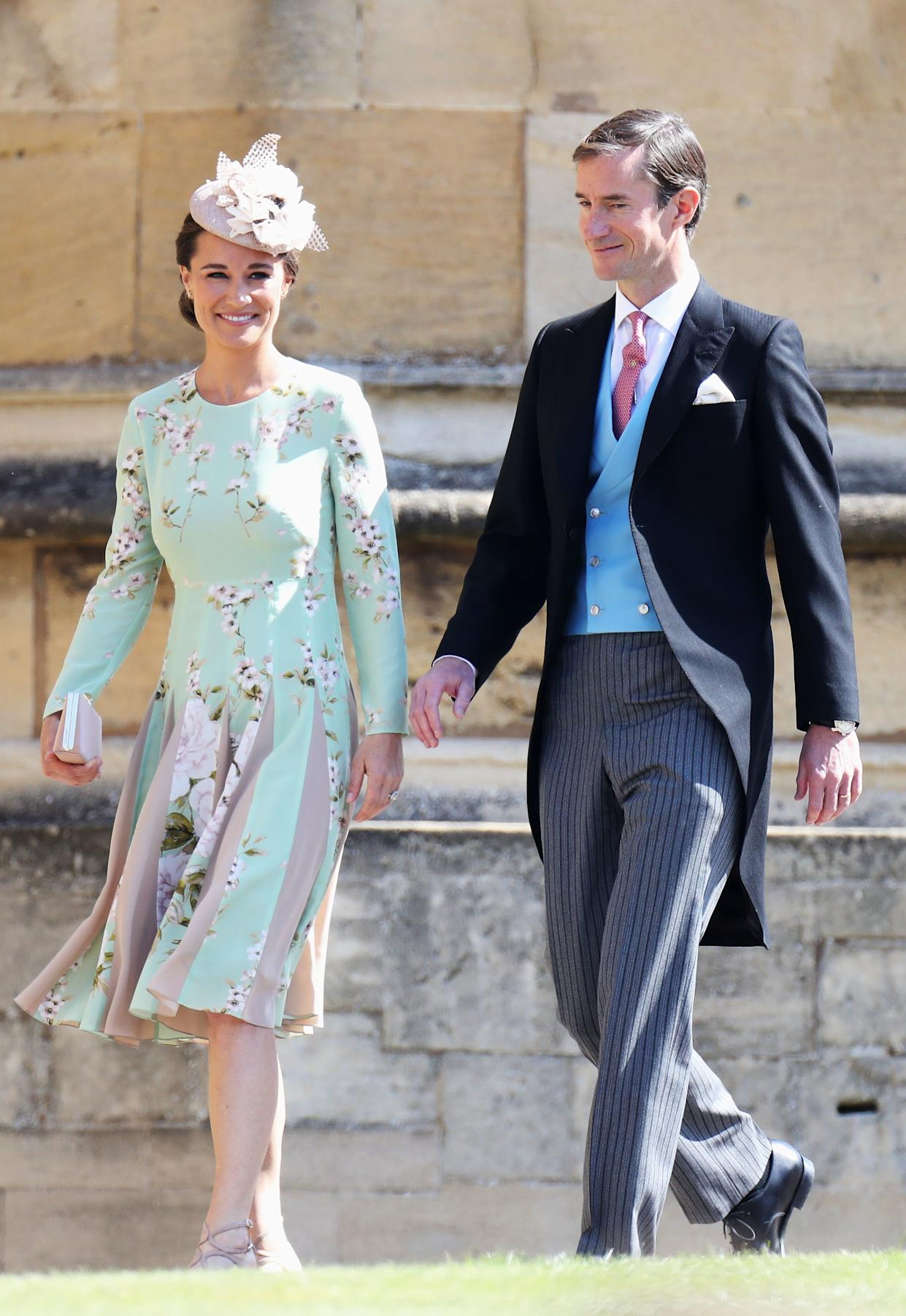 Pippa Middleton and James Matthews arrive at St George's Chapel at Windsor Castle for the wedding of Meghan Markle and Prince Harry.