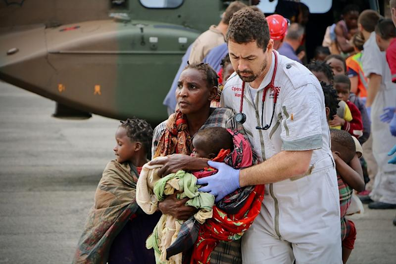 Emergency cases have been arriving at Beira airport but doctors at the hospital are struggling to cope with the influx -- supplies of blood and diesel are dwindling and the operating theatres have been wrecked (AFP Photo/ADRIEN BARBIER)