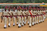 Police personnel march back after India's 74th Indian Independence Day celebrations, which mark the end of British colonial rule, at the Manek Shaw Parade Grounds in Bangalore on August 15, 2020. - India's Prime Minister Narendra Modi issued a new warning to China over deadly border tensions on August 15, using his most important speech of the year to promise to build a stronger military. (Photo by Manjunath Kiran / AFP) (Photo by MANJUNATH KIRAN/AFP via Getty Images)