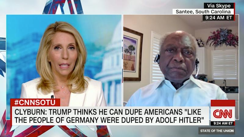 "CNN's Dana Bash interviews Rep. James Clyburn. (Screenshot: ""State of the Union"" via CNN)"