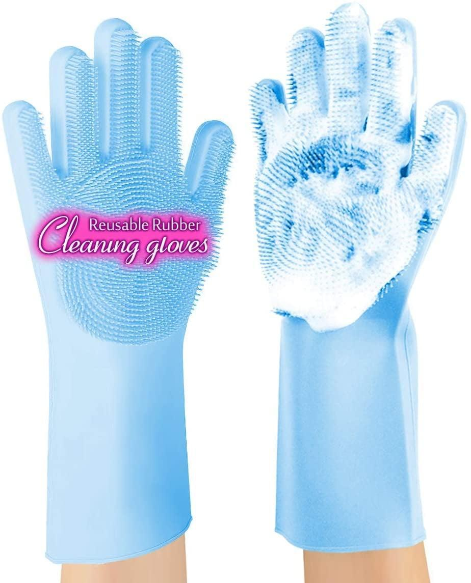 <p>Using protective gloves to wash dishes is one way to keep hands clean and wrinkle-free, but why not skip a step and opt for these textured <span>Anzoee Reusable Silicone Scrubbing Gloves For Kitchen, Bathroom, Car, and More (1 Pair)</span> ($8) to clean without a sponge (or pair with that dish-dispensing brush for double scrubbing, too)?</p>