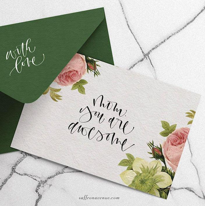 """<p>A """"With Love"""" written on the envelope flap will already pull on Mom's heartstrings, but just wait until she sees what the flattering and floral card inside has in store. </p><p><strong>Get the printable at <a href=""""https://saffronavenue.com/blog/tutorials-freebies/free-printable-mothers-day-card/"""" rel=""""nofollow noopener"""" target=""""_blank"""" data-ylk=""""slk:Saffron Avenue"""" class=""""link rapid-noclick-resp"""">Saffron Avenue</a>.</strong></p>"""