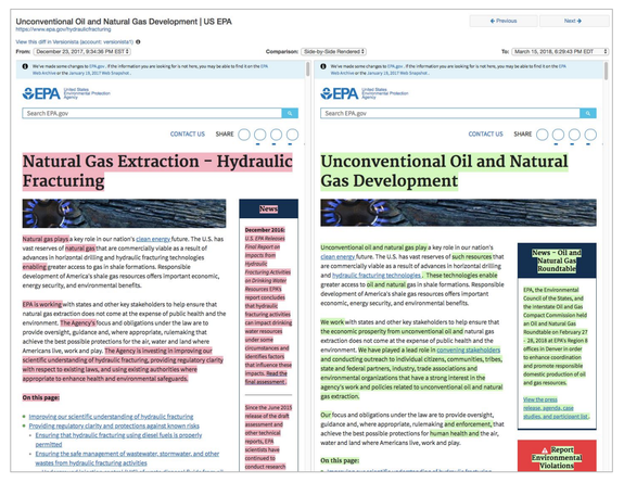 A Wayback Machine archive of the EPA's fracking page before and after the Trump administration made its changes.
