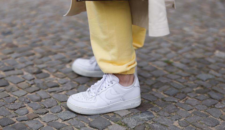 BERLIN, GERMANY - MAY 06: Sonia Lyson wearing yellow Ducie jogging suit and white Nike Air Force sneakers on May 06, 2021 in Berlin, Germany. (Photo by Jeremy Moeller/Getty Images)