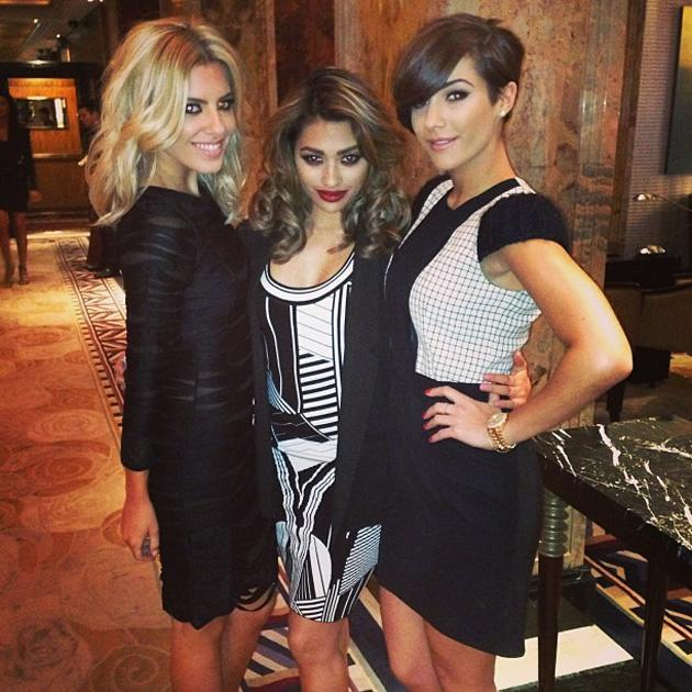 Celebrity Twitpics: The Saturdays attended London Fashion Week last weekend. Frankie Sandford tweeted this snap of herself and her bandmates, Vanessa White and Mollie King, before they watched the shows. Copyright [Frankie Sandford]