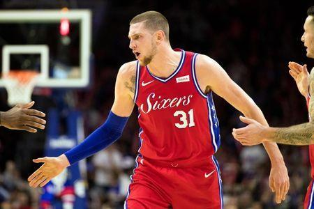 Nov 1, 2018; Philadelphia, PA, USA; Philadelphia 76ers forward Mike Muscala (31) reacts after an and one could against the LA Clippers during the third quarter at Wells Fargo Center. Mandatory Credit: Bill Streicher-USA TODAY Sports