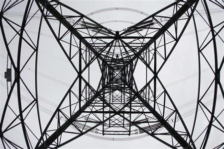 An electricity pylon is seen at Ratcliffe on Soar, central England