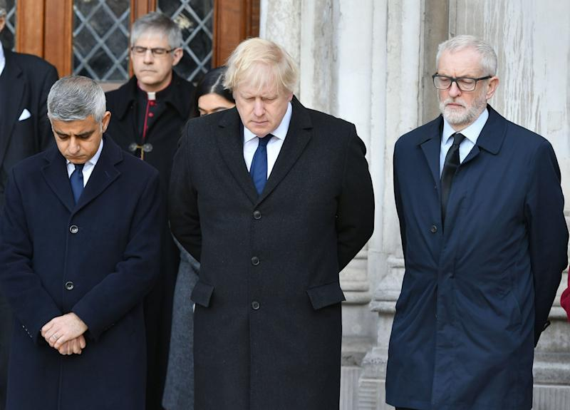 Sadiq Khan with Boris Johnson and Jeremy Corbyn at a vigil at the Guildhall after the London Bridge terror attack last December (PA)