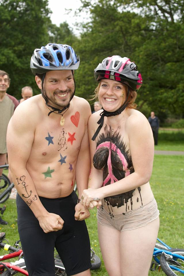 Cyclists attend The 2012 Annual Naked Bike Ride in Southampton Southampton, England - 08.06.12 Credit: (Mandatory) WENN.com