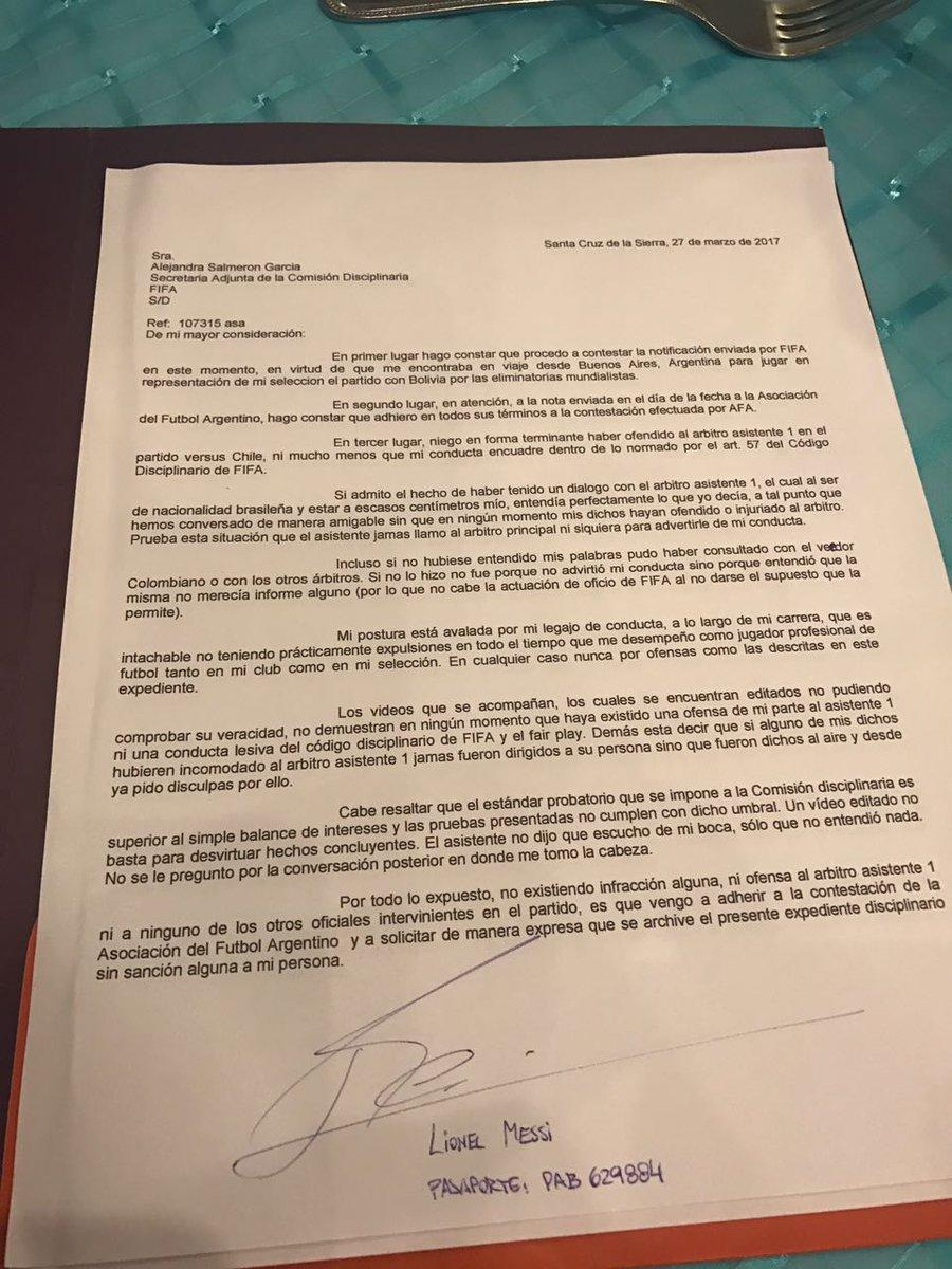 Messi Letter FIFA Ban
