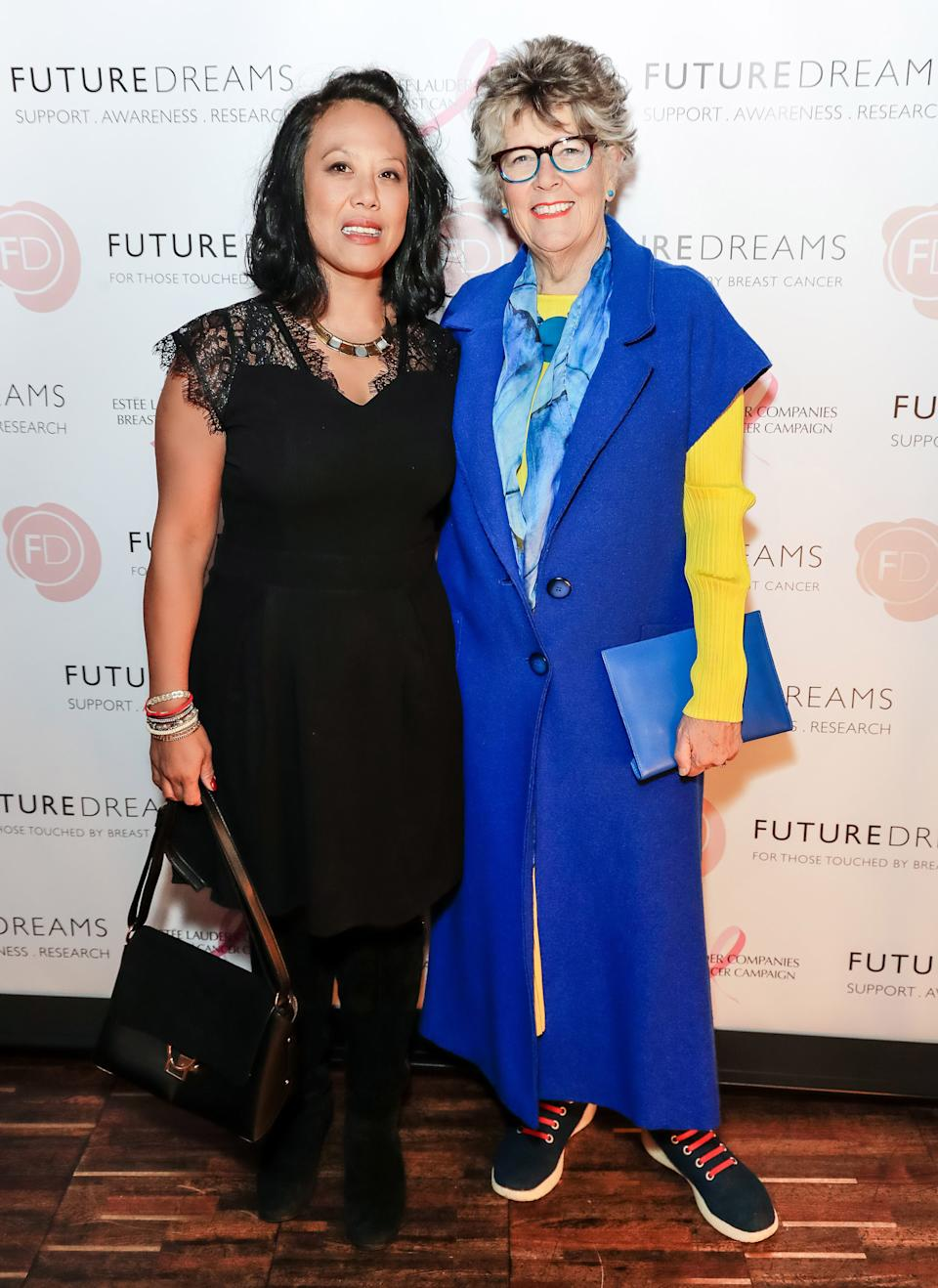 Li-Da Kruger and Prue Leith attend the Future Dreams International Women's Day Tea supported by Estee Lauder at The Arts Club on March 9, 2020 in London, England.  (Photo by David M. Benett/Dave Benett/Getty Images)
