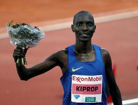 Asbel Kiprop of Kenya celebrates after winning. Scanpix/Vidar Ruud/via REUTERS