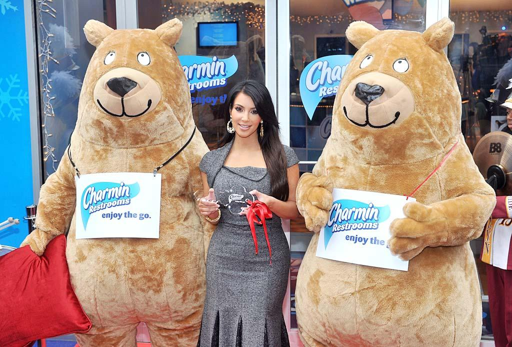 """Proving that she'll promote just about anything, Kim Kardashian was on hand for the 5th Annual Charmin Restrooms ribbon cutting in New York City's Times Square Tuesday. Seriously, Kim? Henry S. Dziekan III/<a href=""""http://www.gettyimages.com/"""" target=""""new"""">GettyImages.com</a> - November 23, 2010"""