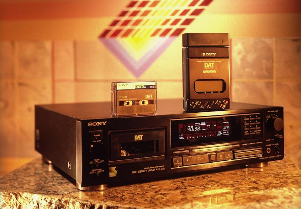 Sony's DAT tape deck, Walkman portable cassette player & blank DAT cassette.  (Photo by Ted Thai/The LIFE Picture Collection via Getty Images)