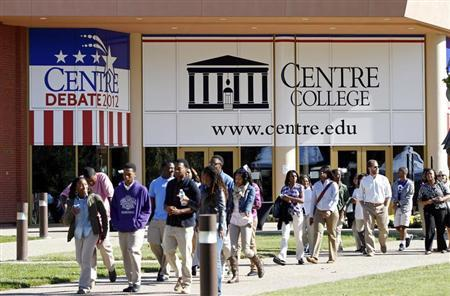 Students leave the Norton Center for the Arts on the Centre College campus, a day before the vice-presidential debate, in Danville