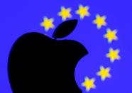 FILE PHOTO: A 3D-printed Apple logo is seen in front of a displayed European Union flag in this illustration