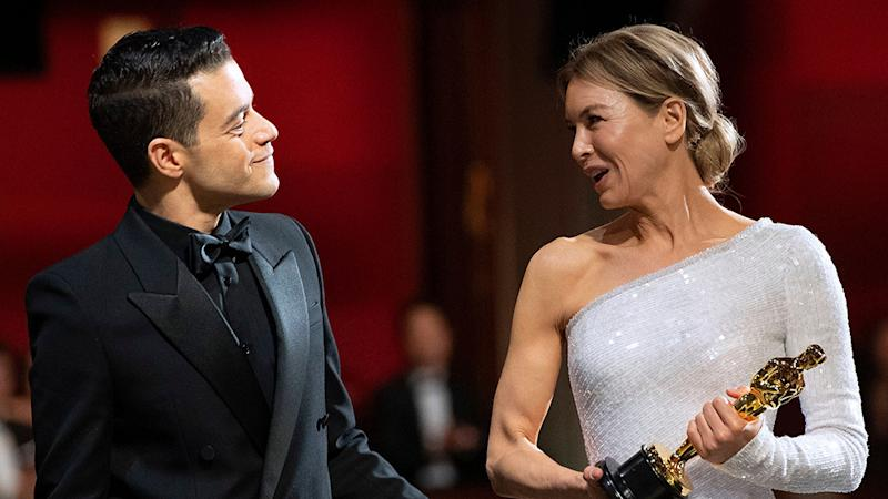 FOR EDITORIAL USE ONLY. No marketing or advertising is permitted without the prior consent of A.M.P.A.S. Mandatory Credit: Photo by A.M.P.A.S./Shutterstock (10551201uh) Rami Malek and Renee Zellweger - Leading Actress - Judy 92nd Annual Academy Awards, Backstage, Los Angeles, USA - 09 Feb 2020