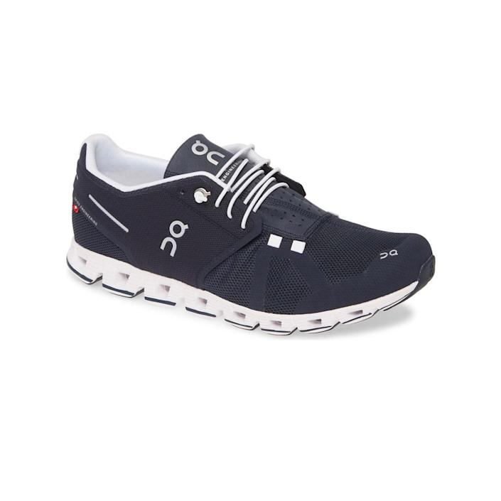 """These Swiss running shoes come recommended by <a href=""""https://www.glamour.com/gallery/best-running-shoes-for-women?mbid=synd_yahoo_rss"""" rel=""""nofollow noopener"""" target=""""_blank"""" data-ylk=""""slk:all types of runners"""" class=""""link rapid-noclick-resp"""">all types of runners</a>, and make a perfect gift for the dad who logs 30-something miles a week. The sole design is unique to the brand and will make him feel like he's running on clouds. $130, Nordstrom. <a href=""""https://shop.nordstrom.com/s/on-cloud-running-shoe-men/5193183?"""" rel=""""nofollow noopener"""" target=""""_blank"""" data-ylk=""""slk:Get it now!"""" class=""""link rapid-noclick-resp"""">Get it now!</a>"""