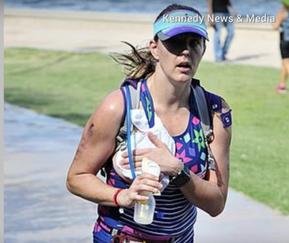 Mother-of-two Jaime Sloan completed an Arizona Ironman competition while pumping breast milk. (Image: YouTube/Kennedy News & Media)
