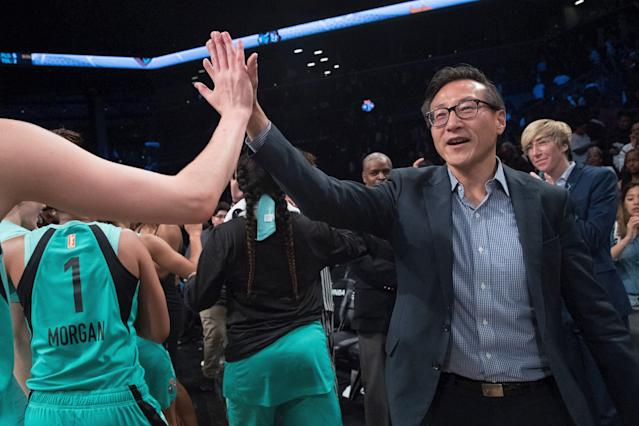 """The <a class=""""link rapid-noclick-resp"""" href=""""/wnba/teams/nyl"""" data-ylk=""""slk:New York Liberty"""">New York Liberty</a>'s new owner, Joe Tsai, wants to do his part for improving relations between China and the United States. (AP Photo/Mary Altaffer)"""