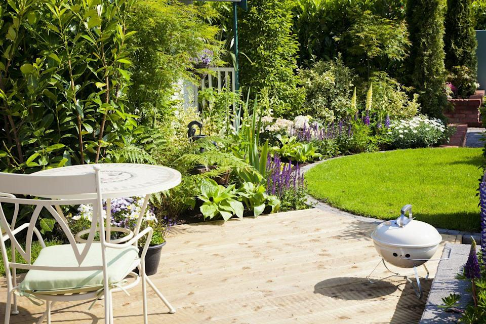 """<p>One of the easiest and cheapest ways to transform your garden is to cut the lawn into a clearly defined shape – something like a circle, a square or an oblong. Mark it out with string and use a spade (try this <a href=""""https://www.amazon.co.uk/d/1b3/Neill-Tools-Spear-Jackson-1190EL-Stainless-Digging/B0006UF67G/ref=sr_1_1?ie=UTF8&qid=1500582637&sr=8-1&keywords=spade"""" rel=""""nofollow noopener"""" target=""""_blank"""" data-ylk=""""slk:Stainless Digging Spade by Spear & Jackson"""" class=""""link rapid-noclick-resp"""">Stainless Digging Spade by Spear & Jackson</a>) to cut away the excess grass. It's not a difficult job and should only take an afternoon. </p>"""