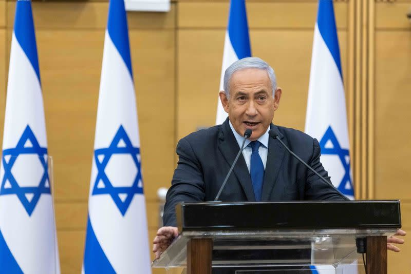 Israeli Prime Minister Benjamin Netanyahu delivers a statement in the Knesset, the Israeli Parliament, in Jerusalem