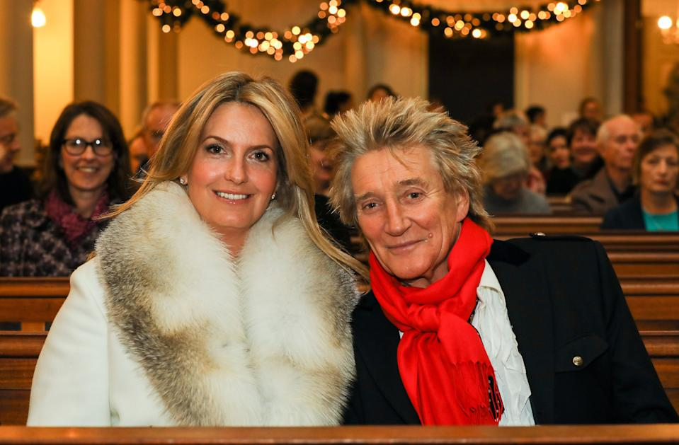 LONDON, ENGLAND - DECEMBER 14: Penny Lancaster and  Rod Stewart attend the Chain Of Hope Carol at St Marylebone Parish Church on December 14, 2017 in London, England. (Photo by David M. Benett/Dave Benett/Getty Images)