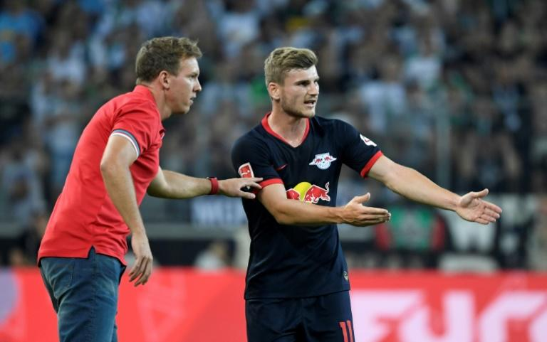 Head coach Julian Nagelsmann and striker Timo Werner (R) have high hopes for RB Leipzig during only their second Champions League campaign this season