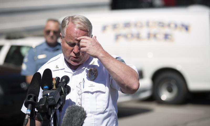 Police Chief Thomas Jackson speaks during a news conference at the police headquarters in Ferguson, Missouri August 13, 2014. The police officer involved in the fatal shooting of an unarmed black teenager last weekend in Ferguson, Missouri, an incident that has sparked repeated and sometimes violent racially charged protests, was injured in the encounter and treated for a facial injury, the city's chief of police Jackson said on Wednesday. REUTERS/Mario Anzuoni (UNITED STATES - Tags: CRIME LAW)