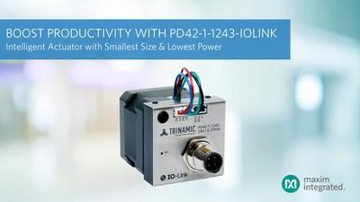 Boost factory productivity with the industry's smallest, lowest-power intelligent actuator by Maxim Integrated. The PD42-1-1243-IOLINK intelligent actuator reduces power by more than 50 percent and drive size by 2.6x, while boosting factory productivity by monitoring 50 percent more configuration and performance parameters.