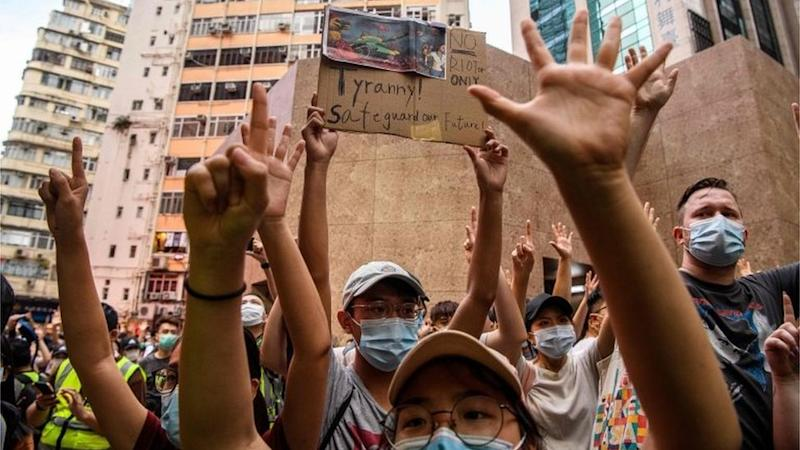 Protesters demonstrate against the national security law in Hong Kong (01/07/20)