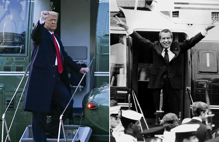 President Donald Trump gestures as he boards Marine One on the South Lawn of the White House, Wednesday, Jan. 20, 2021, in Washington. Trump is en route to his Mar-a-Lago Florida Resort. (AP Photo/Alex Brandon) (RIGHT) Richard Nixon says goodbye with a victorious salute to his staff members outside the White House as he boards a helicopter after resigning the presidency on Aug. 9, 1974. (AP Photo/Bob Daugherty)