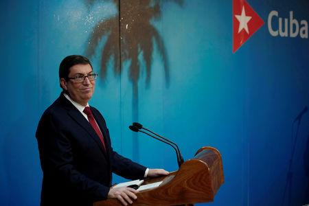 Cuba's Foreign Minister Bruno Rodriguez speaks during a news conference in Havana, Cuba, April 25, 2019. REUTERS/Alexandre Meneghini