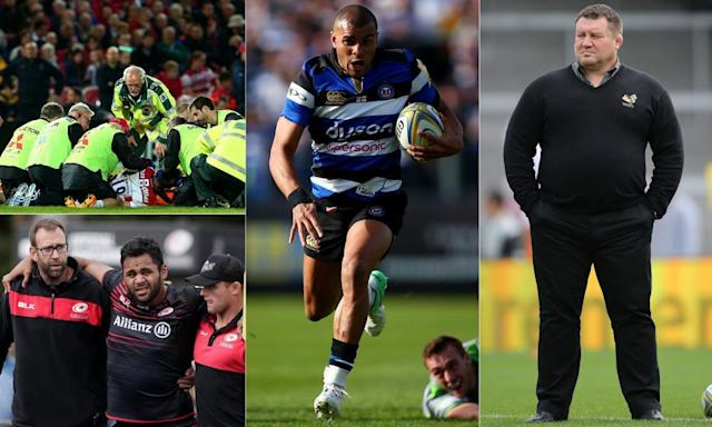 """<span class=""""element-image__caption"""">Gloucester's Tom Savage receives treatment, Billy Vunipola was forced off with injury again, Jonathan Joseph faces a battle with Ben Te'o and and the Wasps head coach Dai Young has some thinking to do.</span> <span class=""""element-image__credit"""">Composite: PPAUK, JMP/Rex/Shutterstock, Getty Images,</span>"""