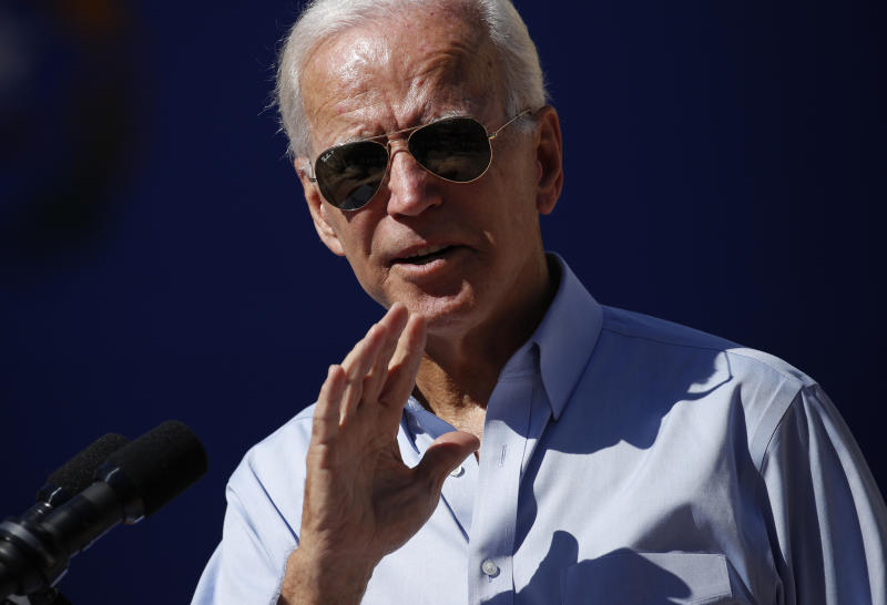 Democratic presidential candidate former Vice President Joe Biden speaks at a campaign event Friday, Sept. 27, 2019, in Las Vegas. (AP Photo/John Locher)