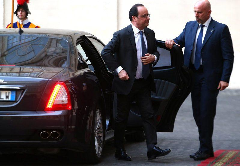 French President Francois Hollande arrives for the meeting - Credit: REUTERS/Alessandro Bianchi