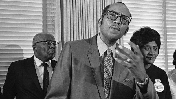 PHOTO: Georgia state Sen. Leroy Johnson speaks during an event at a City Hall news conference in Atlanta, G.A., on Oct. 20, 1969. (Joe Holloway Jr./AP, FILE)