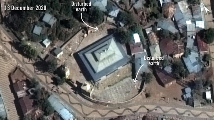 Satellite imagery taken on 13 December 2020 shows new disturbed earth at the Arba'etu Ensessa church in downtown Aksum