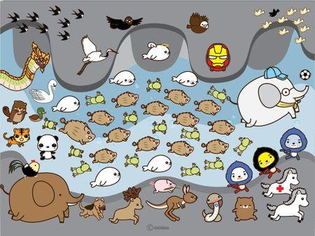 An undatedgraphicillustrationdepicts thirteen boars surrounded by other animals, each representing boys and the expert teams involved in the rescue of the soccer team, in this social media illustrationobtainedby Reuters July 10, 2018. SISIDEA/via REUTERS