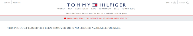 The sold-out statement seen on select products from the new Tommy x Gigi collection. (Photo: Tommy.com)