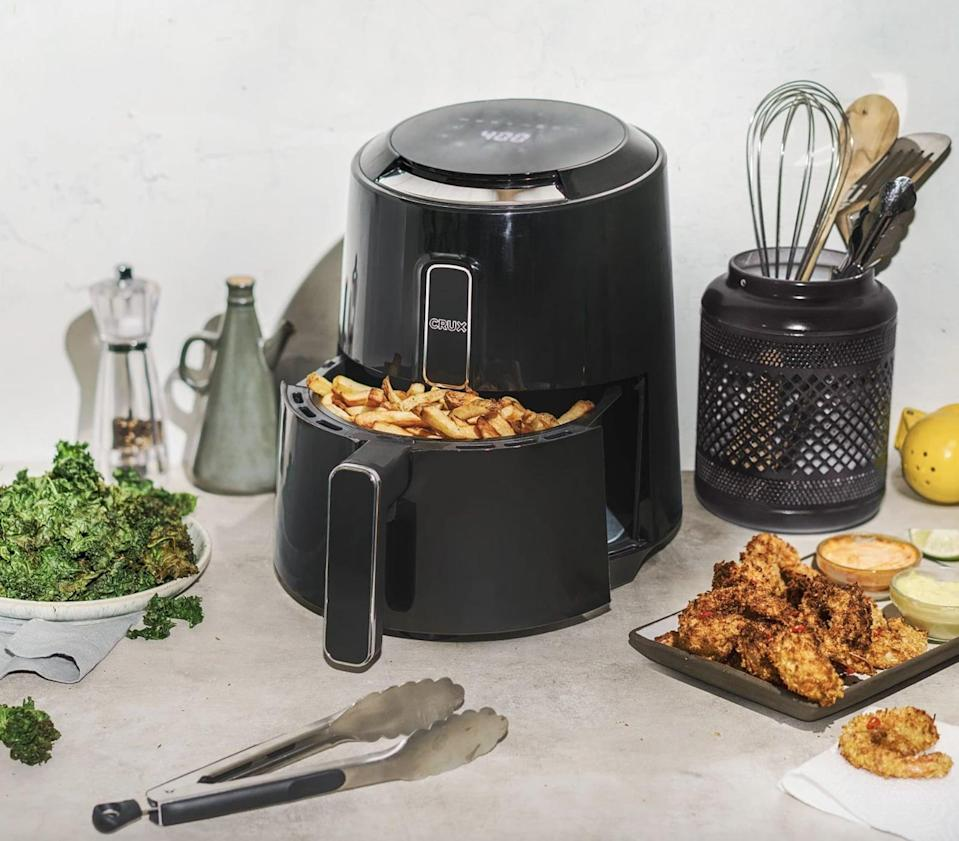 <p>Prepare delicious crispy food without excess oil and hassle with the <span>Crux 3.7-Quart Touchscreen Electric Air Fryer</span> ($63, originally $100). It's sleek and great for limited counter space.</p>