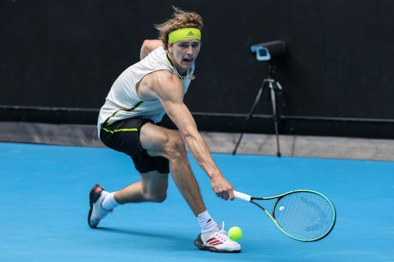 A ball-tracking camera can be seen on court behind Germany's Alexander Zverev
