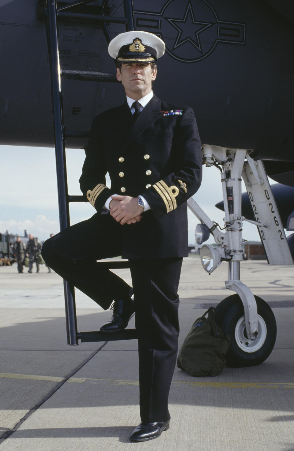 Irish actor Pierce Brosnan as 007 in his naval uniform in the James Bond film 'Tomorrow Never Dies', 1997. (Photo by Keith Hamshere/Getty Images)
