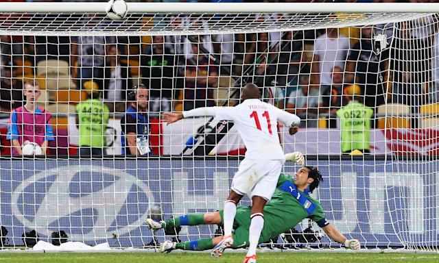 Ashley Young's penalty hits the crossbar against Italy in Euro 2012.