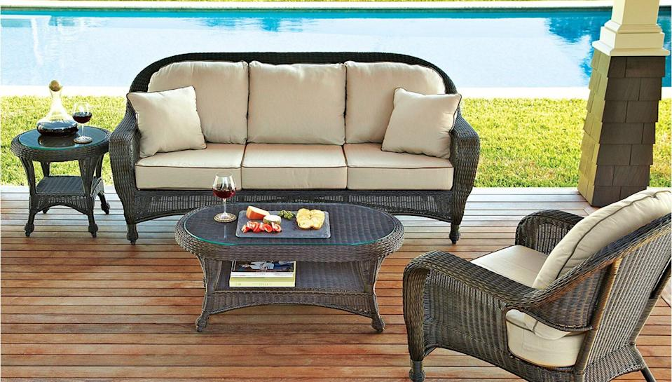 Lounge by your pool on this comfy outdoor sofa.