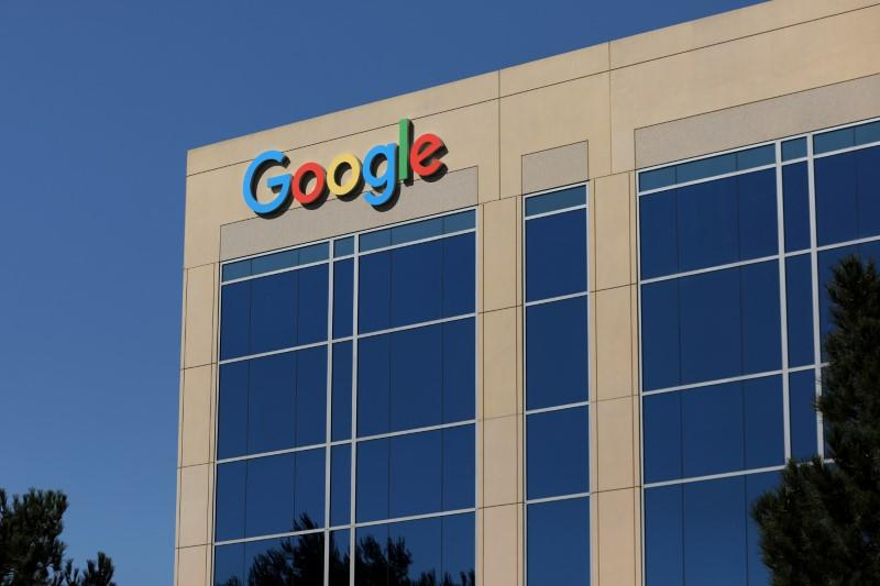 FILE PHOTO: Google logo on office building in Irvine California