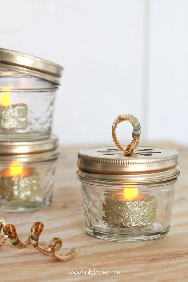 """<p>Supplement your string of Christmas lights with these romantic and rustic ornaments fashioned from mini canning jars and <a href=""""https://www.amazon.com/TEECOO-Summer-Promotion-Flickering-Flameless/dp/B07C8HKGQY/"""" rel=""""nofollow noopener"""" target=""""_blank"""" data-ylk=""""slk:battery-powered tea lights"""" class=""""link rapid-noclick-resp"""">battery-powered tea lights</a>.</p><p><strong>Get the tutorial at <a href=""""https://lollyjane.com/diy-ball-jar-christmas-ornaments/"""" rel=""""nofollow noopener"""" target=""""_blank"""" data-ylk=""""slk:Lolly Jane"""" class=""""link rapid-noclick-resp"""">Lolly Jane</a>.</strong></p><p><a class=""""link rapid-noclick-resp"""" href=""""https://www.amazon.com/Ball-4-Ounce-Quilted-Crystal-Jelly/dp/B00RG0IWBG/?tag=syn-yahoo-20&ascsubtag=%5Bartid%7C10050.g.1070%5Bsrc%7Cyahoo-us"""" rel=""""nofollow noopener"""" target=""""_blank"""" data-ylk=""""slk:SHOP MINI MASON JARS"""">SHOP MINI MASON JARS</a></p>"""