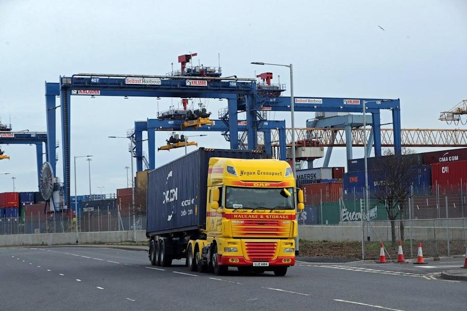 A freight lorry leaving Belfast Port (Niall Carson/PA) (PA Archive)