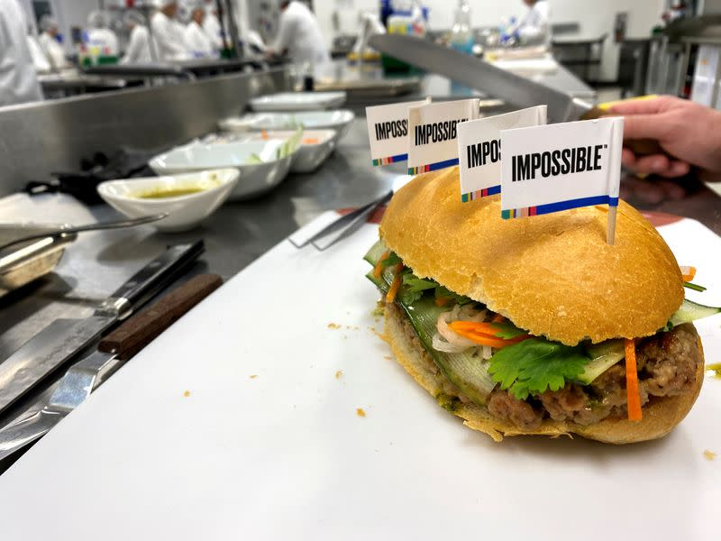 A banh mi sandwich made with a plant-based Impossible Pork patty at the Impossible Foods headquarters in Silicon Valley